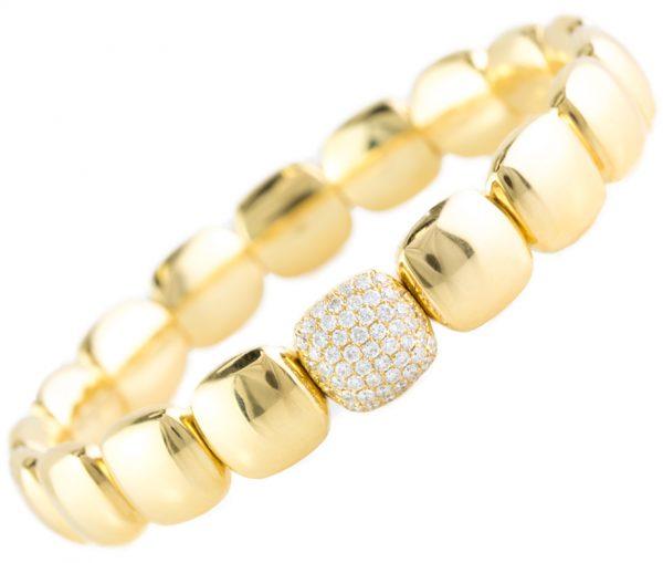 , 18K Yellow Gold Bracelet with Diamonds