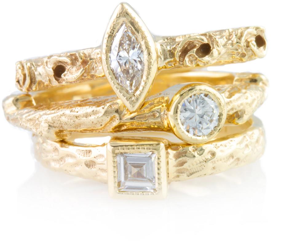12378 2: Miriams Jewelry Custom 14kt Gold Stackable Diamond Ring