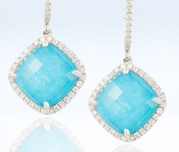 , Drop Turquoise Earrings 18K White Gold