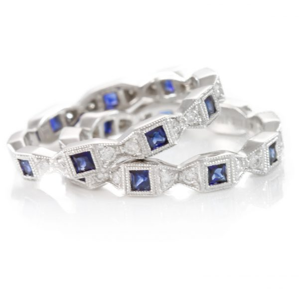 , Diamond and Sapphire Band 18K