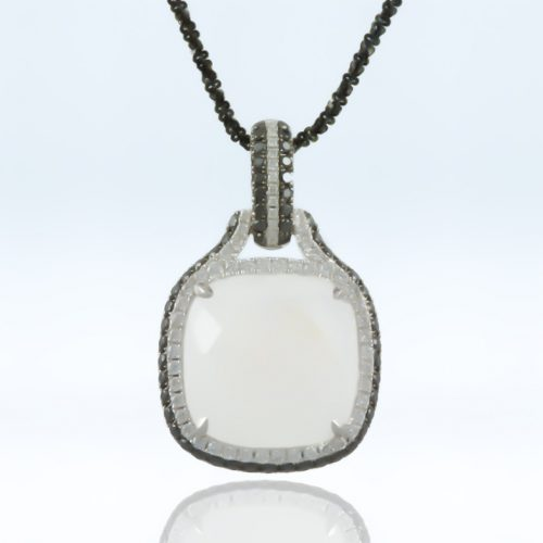 , Black Diamond and 18K White Gold Pendant