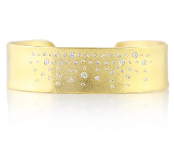 , Diamond Cuff Satin Finish 14K