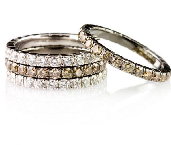 , 1.15 carat Champagne Brilliant Diamonds in 18K