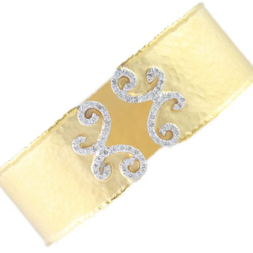 , Diamond Cuff Bracelet Hammered and Satin Finish