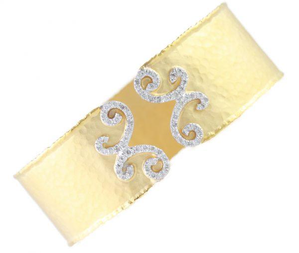 , Diamond Cuff Bracelet Hammered and Satin Finish