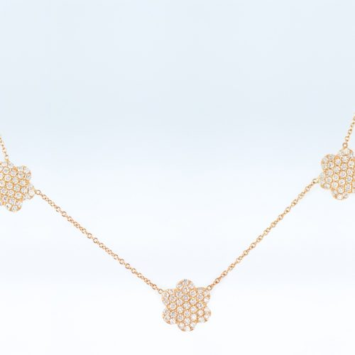 , 16″ Diamond and Yellow Gold Flower Necklace