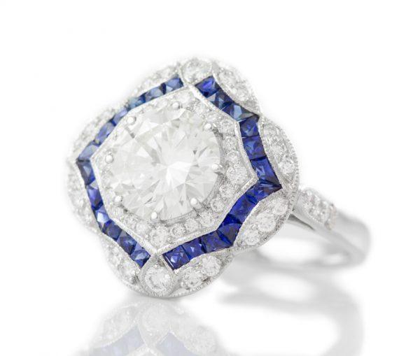 , 1.81CT Diamond Engagement Ring Platinum Mounting
