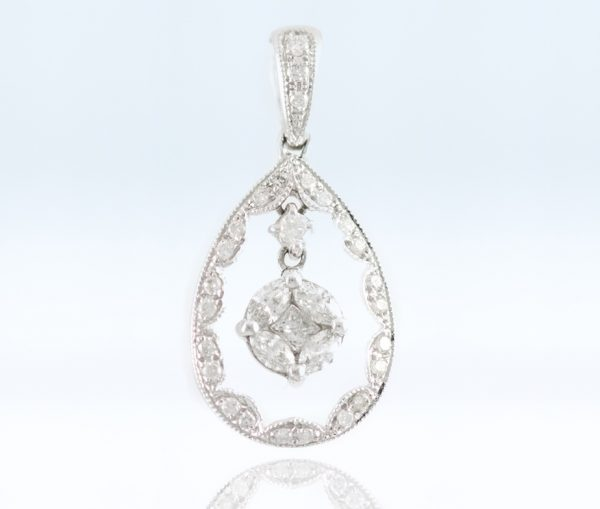 , Oval Hoop Diamond Pendant