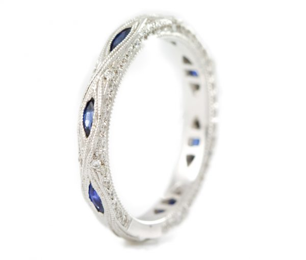 , Diamond and Sapphire Band with Milgrain