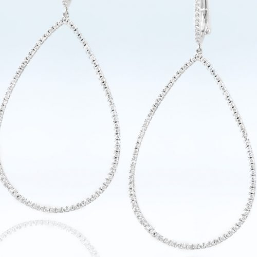 , 18K White Gold Drop Earrings with Diamonds and WT/TQ