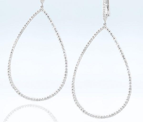 , Diamond Oval Hoops Earrings 18K White Gold