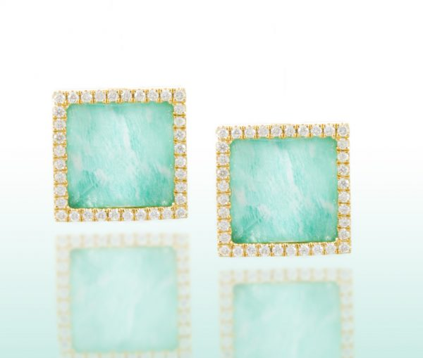 , White Topaz and Amazonite Earrings with Diamond Halo