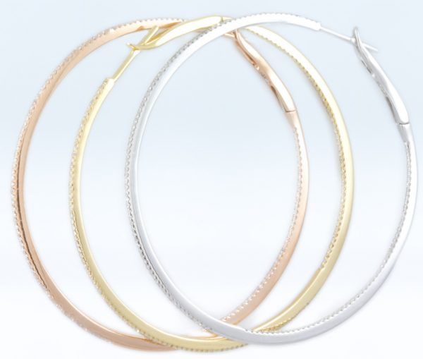 , 18K Yellow Gold Diamond Hoops 1.5""
