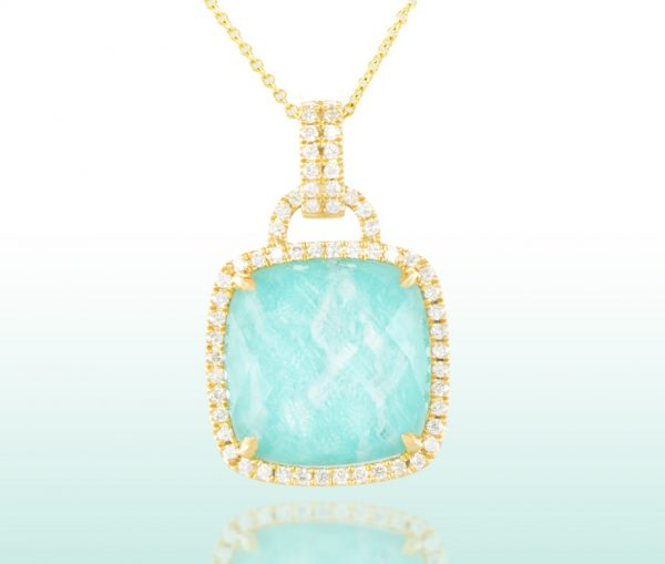 , White Topaz and Amazonite Diamond Pendant