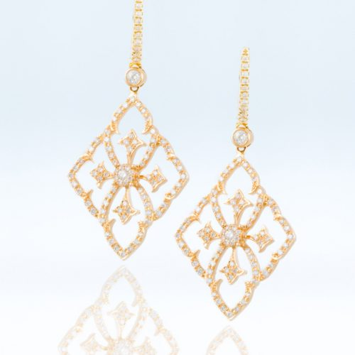 , Rose Cut Slice Diamond Earrings