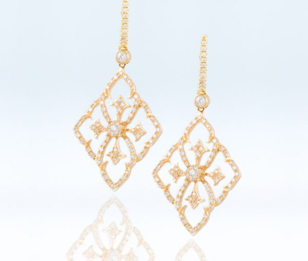 , Diamond Earrings 18K Rose Gold