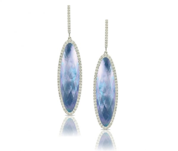 , Ivory Sky White Topaz and Lapis Earrings