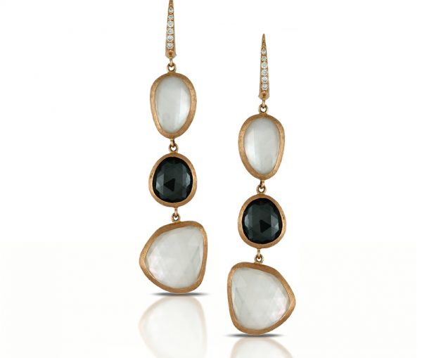 , Domino Drop Earrings with Topaz, Hermatite, and MOP