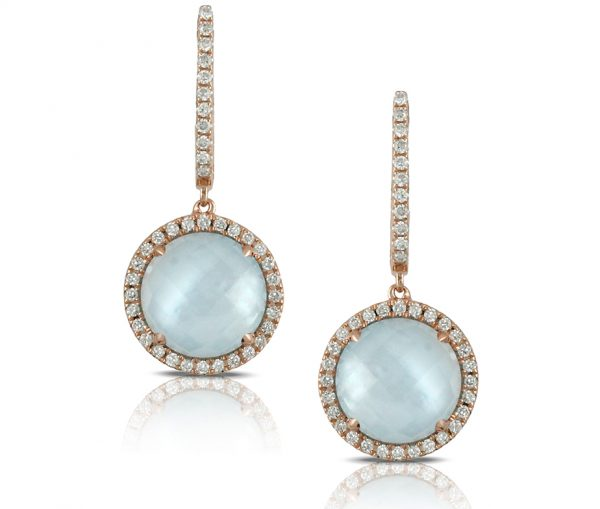 , Ocean Mist Blue Topaz and Mother of Pearl Earrings