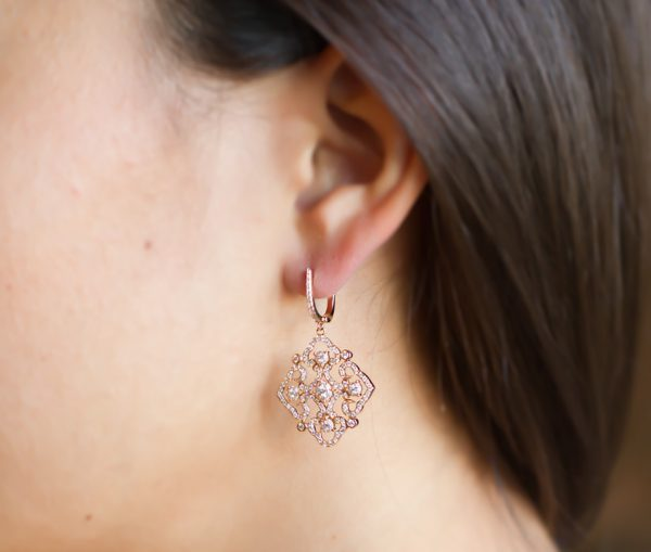 , Pink Gold Diamond Earrings