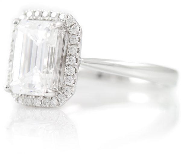 , 2.06CTTW Diamond Ring with18K White Gold Diamond Halo Mounting