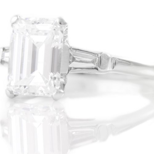 , Vintage Emerald Cut Diamond Engagement Ring 14kt White Gold