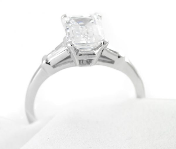 , 2.01CTTW Diamond Engagement Ring Emerald Cut Platinum Mounting