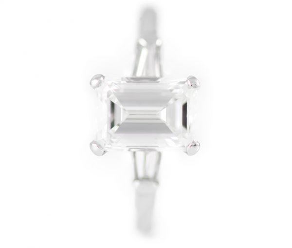 , 2.01CTTW Diamond Engagement Ring Emerald Cut Platinum Mounting