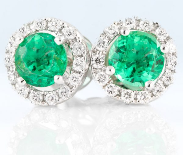 , Diamond and Emerald Stud Earrings