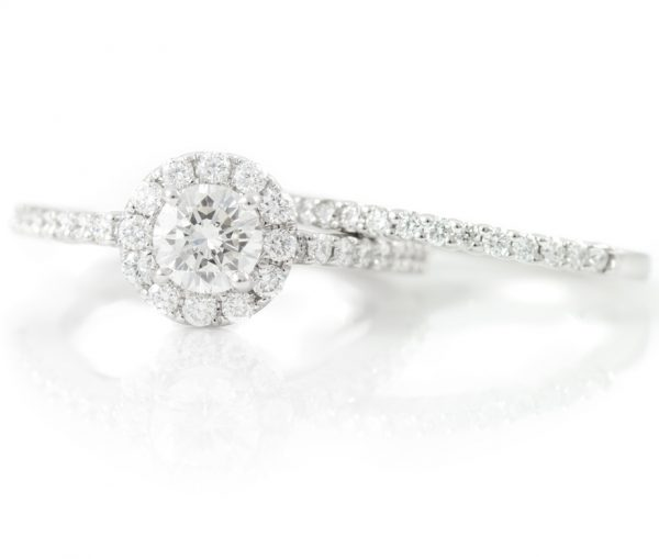 , 1.45CTTW Engagement Ring and Band 18K White Gold