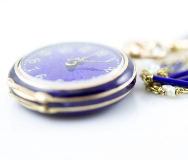 , Edwardian Watch Necklace with Blue Enamel and Seed Pearls and 14K Yellow Gold