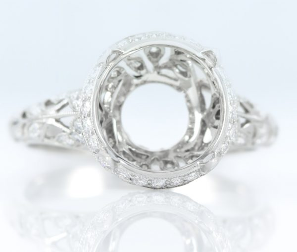 , Platinum Mounting with Hidden Halo, Mil grain, and Filigree