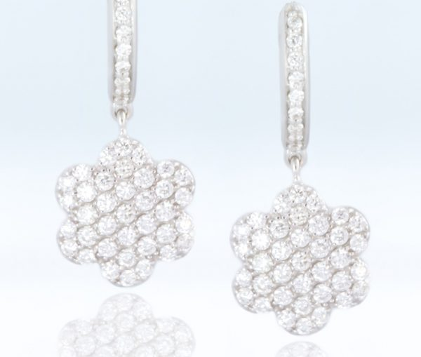 , White Gold Diamond Flower Earrings