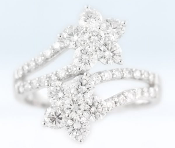 , 1.81CTTW Diamond Flower Ring in 18K White Gold