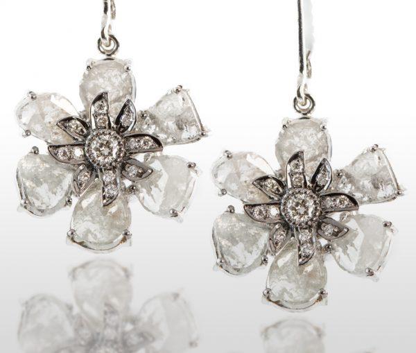 , 5.40CTTW Gray Slice Diamond Flower Ring