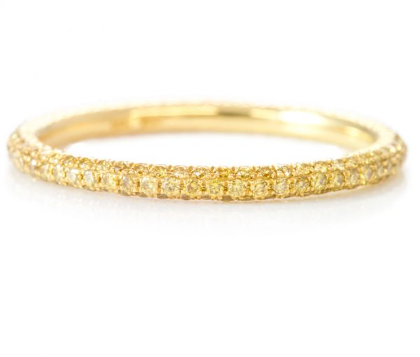, 3 Row Intense Fancy Yellow Eternity Band