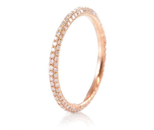 , 3 Row Pink Diamond Eternity Band in 18K
