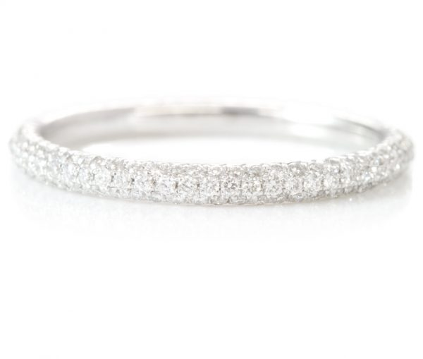 , 3 Row White Diamond Eternity Band in 18K
