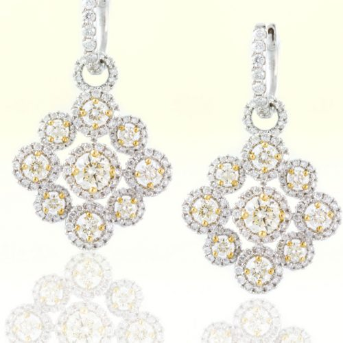 , Diamond Chandelier Earrings in 18K White and Yellow Gold