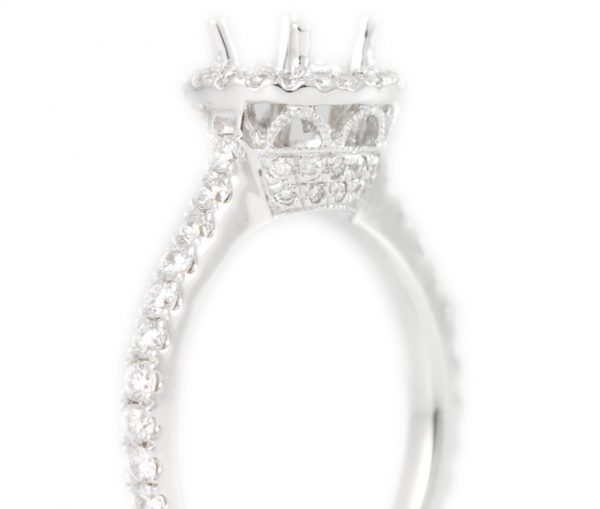 , Diamond Engagement Mounting with Round Diamonds