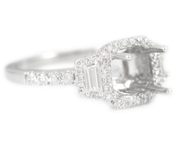 , Diamond Engagement Mounting with Round and Trapezoid Diamonds