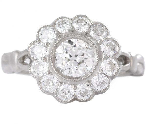 , Platinum Flower Ring in Satin Finish