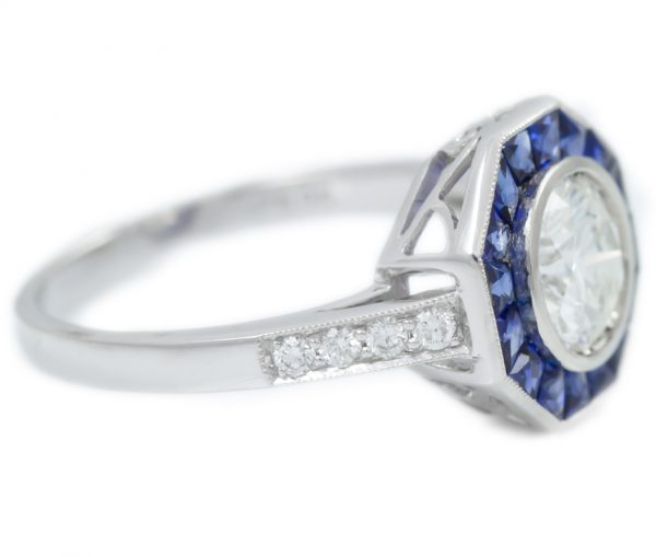 , 1.01CT Round Brilliant Cut Diamond with Sapphire Halo in Platinum