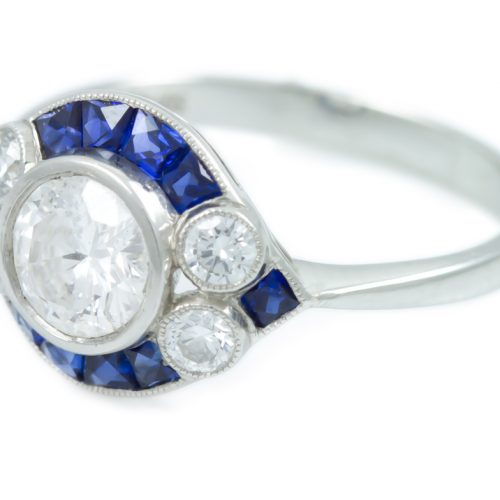 , 0.67CT Round Brilliant Diamond Engagement Ring with Diamonds and Sapphires