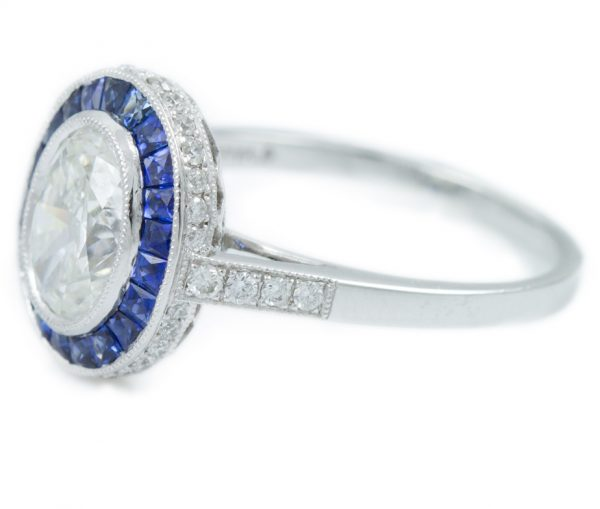 , 1.34CT Oval Diamond Engagement Ring with Sapphire Halo in Platinum