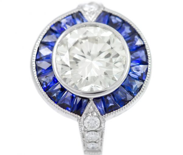 , 2.01CT Diamond Engagement Ring with Sapphire Halo in Platinum