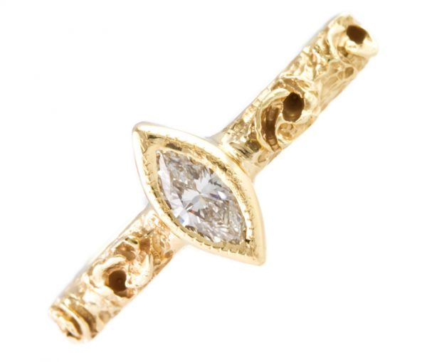 , 14KT Gold Stackable Diamond Ring