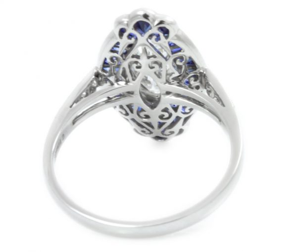 , 0.87CT Marquise Diamond with Sapphire Halo in Platinum