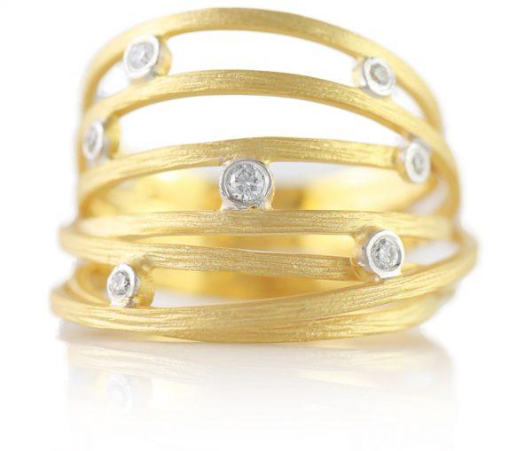 , Hand Carved Multi-Row Diamond Band 14K