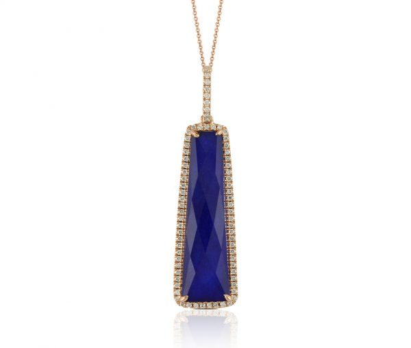 , Royal Lapis Diamond Pendant and Chain